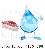 Clipart Of A 3d Water Drop Character Holding Up A Finger And A Beef Steak Royalty Free Illustration