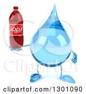 Clipart Of A 3d Water Drop Character Holding A Soda Bottle Royalty Free Illustration