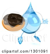 Clipart Of A 3d Water Drop Character Facing Slightly Right Jumping And Holding A Chocolate Frosted Donut Royalty Free Illustration