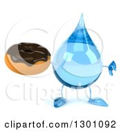 Clipart Of A 3d Water Drop Character Giving At Humb Down And Holding A Chocolate Frosted Donut Royalty Free Illustration