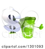 Clipart Of A 3d Recycle Bin Character Holding Up A Thumb And Dollar Symbol Royalty Free Illustration by Julos