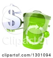 Clipart Of A 3d Recycle Bin Character Holding And Pointing To A Dollar Symbol Royalty Free Illustration by Julos
