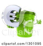 Clipart Of A 3d Recycle Bin Character Facing Right Jumping And Holding A Euro Symbol Royalty Free Illustration by Julos