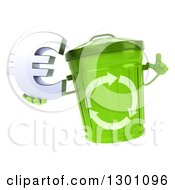 Clipart Of A 3d Recycle Bin Character Holding Up A Finger And A Euro Symbol Royalty Free Illustration by Julos