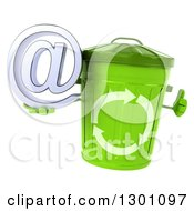 Clipart Of A 3d Recycle Bin Character Giving A Thumb Up And Holding An Email Arobase At Symbol Royalty Free Illustration by Julos