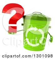Clipart Of A 3d Recycle Bin Character Holding A Question Mark Royalty Free Illustration by Julos