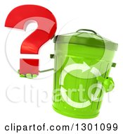 Clipart Of A 3d Recycle Bin Character Holding And Pointing To A Question Mark Royalty Free Illustration by Julos