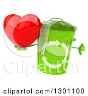 Clipart Of A 3d Recycle Bin Character Holding A Heart And Thumb Down Royalty Free Illustration by Julos