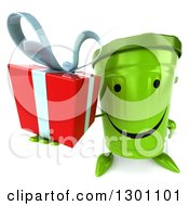 Clipart Of A 3d Happy Recycle Bin Character Holding Up A Gift Royalty Free Illustration by Julos