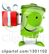 Clipart Of A 3d Happy Recycle Bin Character Holding And Pointing To A Gift Royalty Free Illustration by Julos