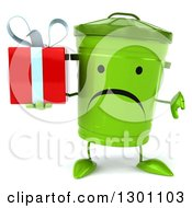 Clipart Of A 3d Unhappy Recycle Bin Character Holding A Thumb Down And A Gift Royalty Free Illustration by Julos