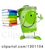 Clipart Of A 3d Happy Recycle Bin Character Holding Up A Finger And A Stack Of Books Royalty Free Illustration by Julos