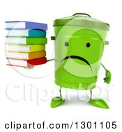 Clipart Of A 3d Unhappy Recycle Bin Character Holding A Stack Of Books Royalty Free Illustration by Julos