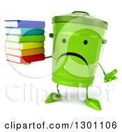 Clipart Of A 3d Unhappy Recycle Bin Character Shrugging And Holding A Stack Of Books Royalty Free Illustration by Julos