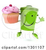 Clipart Of A 3d Happy Recycle Bin Character Jumping And Holding A Pink Frosted Cupcake Royalty Free Illustration by Julos