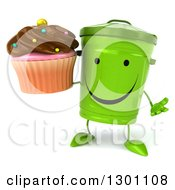 Clipart Of A 3d Happy Recycle Bin Character Shrugging And Holding A Chocolate Frosted Cupcake Royalty Free Illustration by Julos