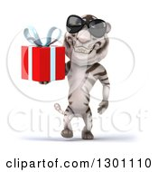 Clipart Of A 3d White Tiger Wearing Sunglasses And Walking With A Gift Royalty Free Illustration