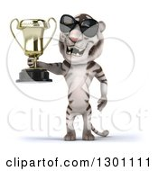 Clipart Of A 3d White Tiger Wearing Sunglasses And Holding A Trophy Royalty Free Illustration