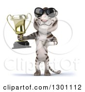 Clipart Of A 3d White Tiger Wearing Sunglasses Holding And Pointing To A Trophy Royalty Free Illustration