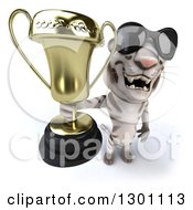Clipart Of A 3d White Tiger Wearing Sunglasses And Holding Up A Trophy Royalty Free Illustration