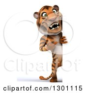 Clipart Of A 3d Full Length Tiger Looking Around A Sign Royalty Free Illustration