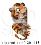 Clipart Of A 3d Tiger Looking Around A Sign Royalty Free Illustration