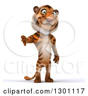 Clipart Of A 3d Tiger Giving A Thumb Down Royalty Free Illustration