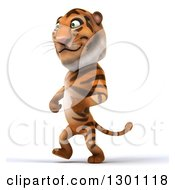 Clipart Of A 3d Tiger Walking To The Left Royalty Free Illustration