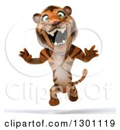 Clipart Of A 3d Tiger Running And Roaring Royalty Free Illustration