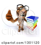 Clipart Of A 3d Bespectacled Tiger Holding Up A Thumb And A Stack Of Books Royalty Free Illustration