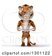Clipart Of A 3d Tiger Smiling And Holding A Book Royalty Free Illustration
