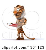 Clipart Of A 3d Tiger Facing Left And Reading A Book Royalty Free Illustration