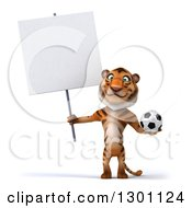 Clipart Of A 3d Tiger Holding A Blank Sign And A Soccer Ball Royalty Free Illustration