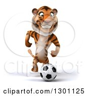 Clipart Of A 3d Tiger Running And Playing Soccer Royalty Free Illustration