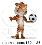 Clipart Of A 3d Tiger Giving A Thumb Down And Holding A Soccer Ball Royalty Free Illustration