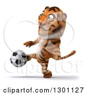 Clipart Of A 3d Tiger Playing Soccer Royalty Free Illustration