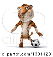 Clipart Of A 3d Tiger Smiling And Playing Soccer Royalty Free Illustration