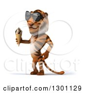 Clipart Of A 3d Tiger Wearing Sunglasses Facing Left And Holding A Waffle Ice Cream Cone Royalty Free Illustration