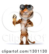Clipart Of A 3d Tiger Wearing Sunglasses Holding And Pointing To A Waffle Ice Cream Cone Royalty Free Illustration