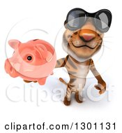 Clipart Of A 3d Tiger Wearing Sunglasses And Holding Up A Piggy Bank Royalty Free Illustration