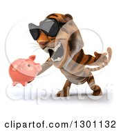 Clipart Of A 3d Tiger Wearing Sunglasses Facing Slightly Left Roaring And Holding A Piggy Bank Royalty Free Illustration