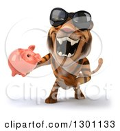 Clipart Of A 3d Tiger Wearing Sunglasses Roaring And Holding A Piggy Bank Royalty Free Illustration