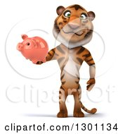 Clipart Of A 3d Tiger Holding A Piggy Bank Royalty Free Illustration