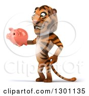 Clipart Of A 3d Tiger Facing Left And Holding A Piggy Bank Royalty Free Illustration