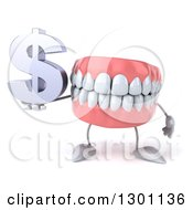3d Mouth Teeth Mascot Holding A Dollar Symbol