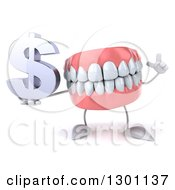 3d Mouth Teeth Mascot Holding Up A Finger And A Dollar Symbol