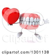 3d Mouth Teeth Mascot Jumping And Holding A Heart
