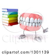 3d Mouth Teeth Mascot Shrugging And Holding A Stack Of Books