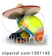 Clipart Of A 3d Mexican Toucan Bird Wearing A Sombrero Hat Royalty Free Illustration