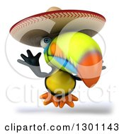 Clipart Of A 3d Mexican Toucan Bird Wearing A Sombrero Hat And Jumping Royalty Free Illustration